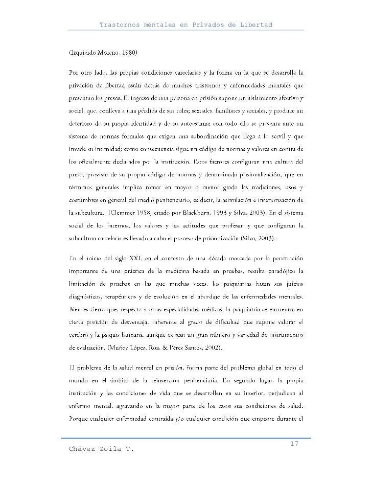 Trastornos mentales en Privados de Libertad                                                     17Chávez Zoila T.