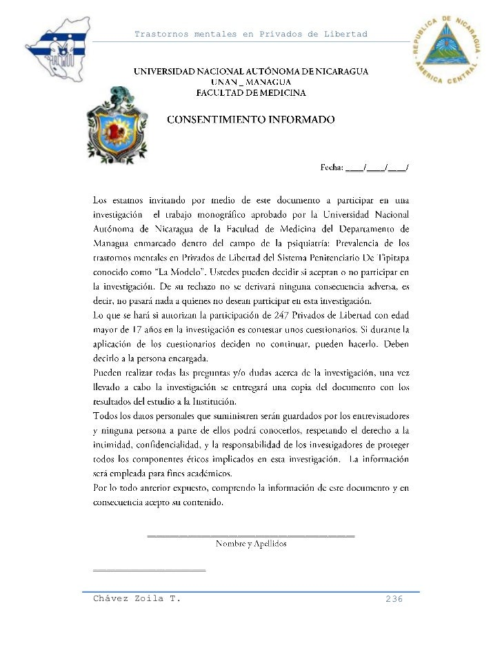 Trastornos mentales en Privados de LibertadChávez Zoila T.                                      236