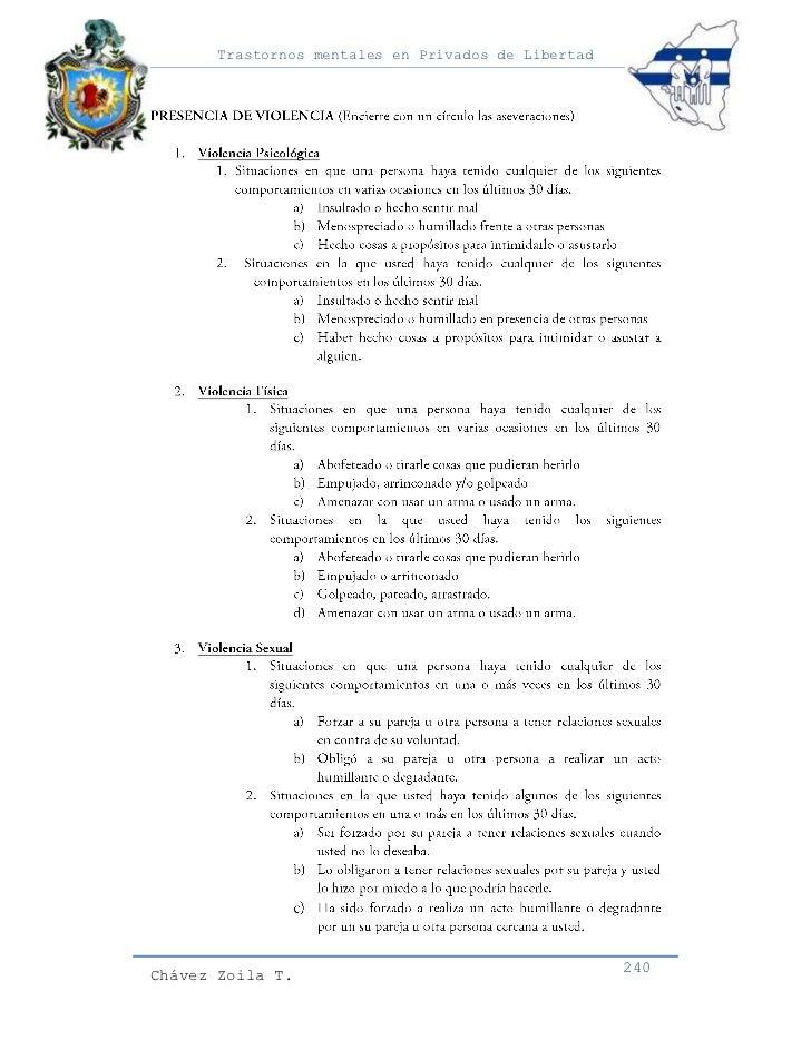 Trastornos mentales en Privados de LibertadChávez Zoila T.                                      240