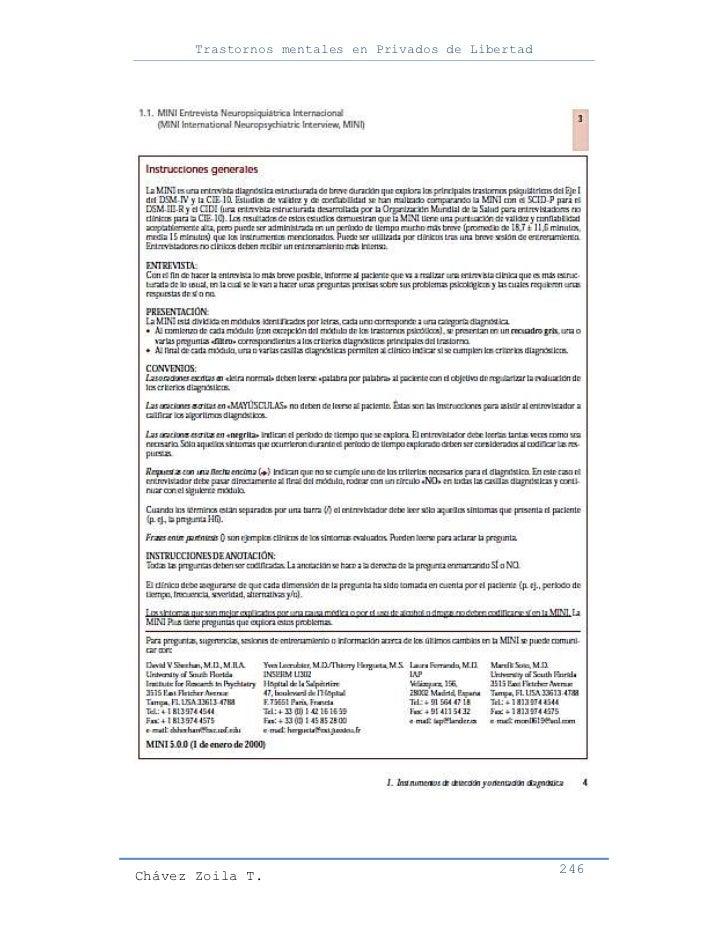 Trastornos mentales en Privados de LibertadChávez Zoila T.                                      246