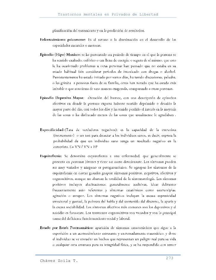 Trastornos mentales en Privados de Libertad                                                     273Chávez Zoila T.