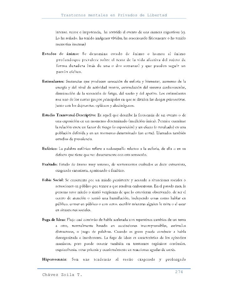 Trastornos mentales en Privados de Libertad                                                     274Chávez Zoila T.