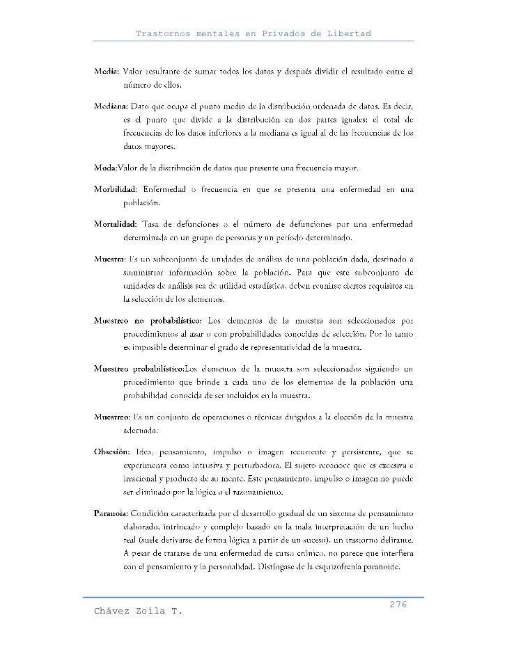 Trastornos mentales en Privados de Libertad                                                     276Chávez Zoila T.