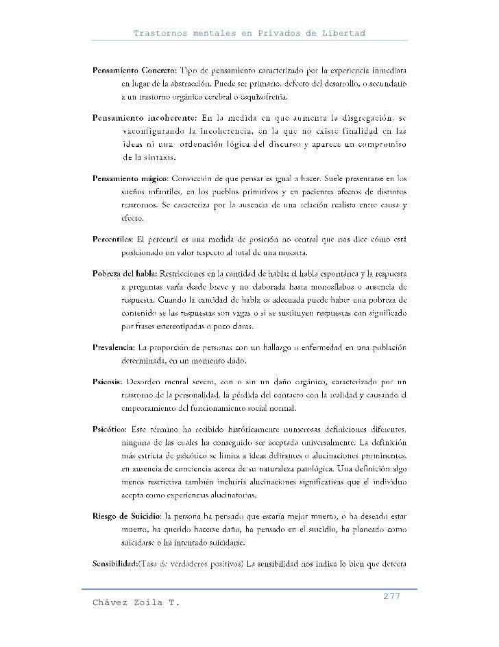 Trastornos mentales en Privados de Libertad                                                     277Chávez Zoila T.