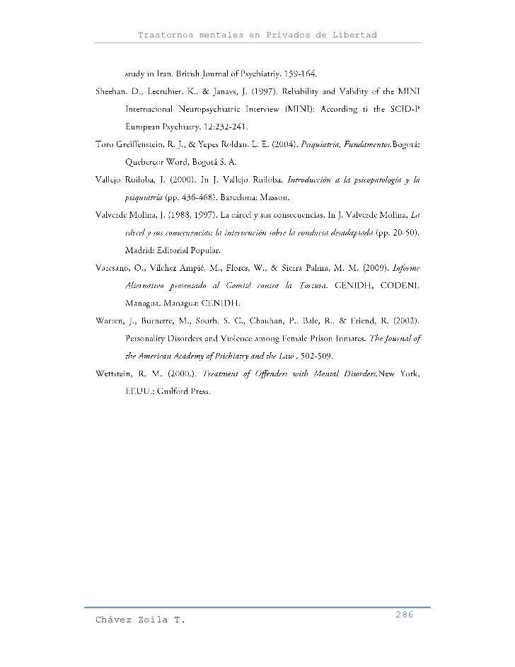 Trastornos mentales en Privados de LibertadChávez Zoila T.                                      286