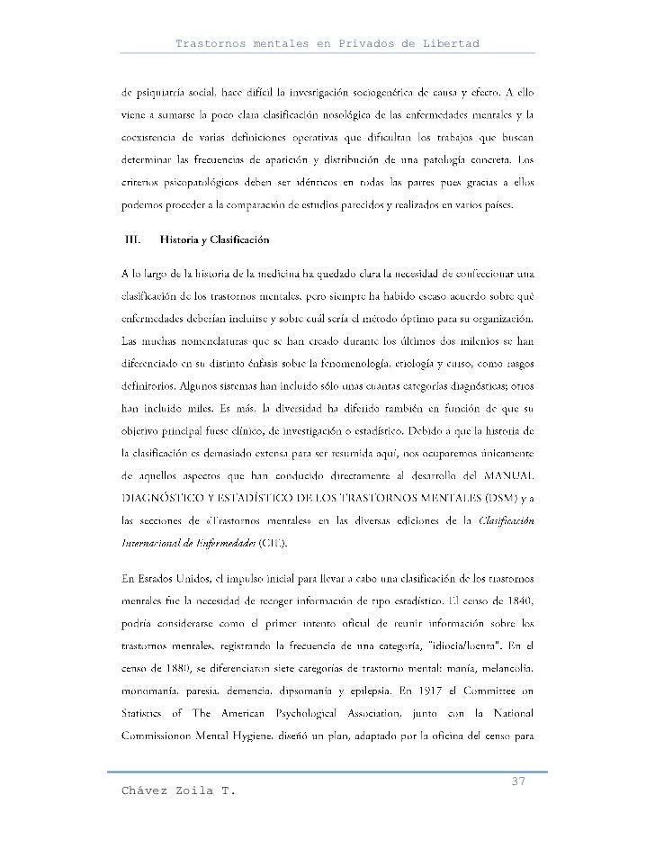 Trastornos mentales en Privados de Libertad                                                     37Chávez Zoila T.