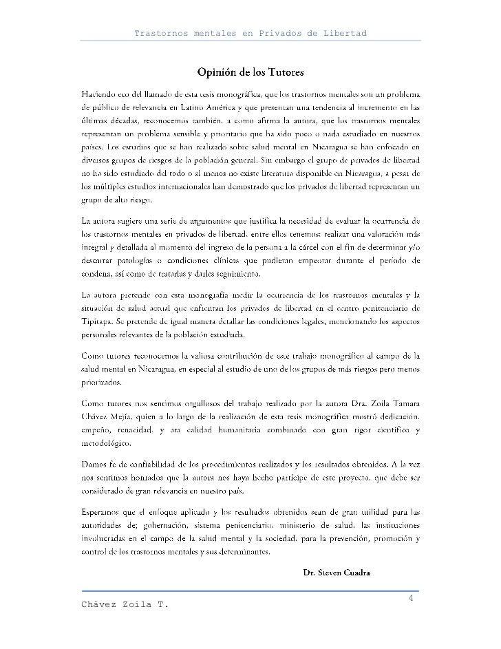 Trastornos mentales en Privados de Libertad                                                      4Chávez Zoila T.