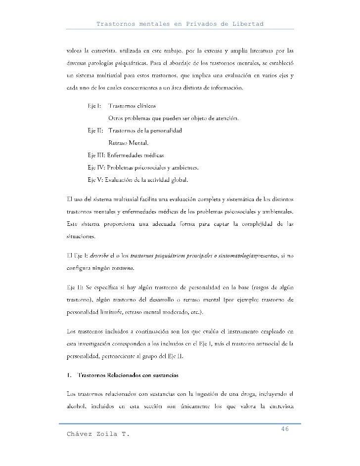 Trastornos mentales en Privados de Libertad                                                     46Chávez Zoila T.
