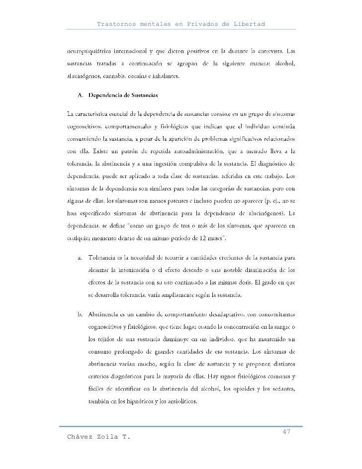 Trastornos mentales en Privados de Libertad                                                     47Chávez Zoila T.