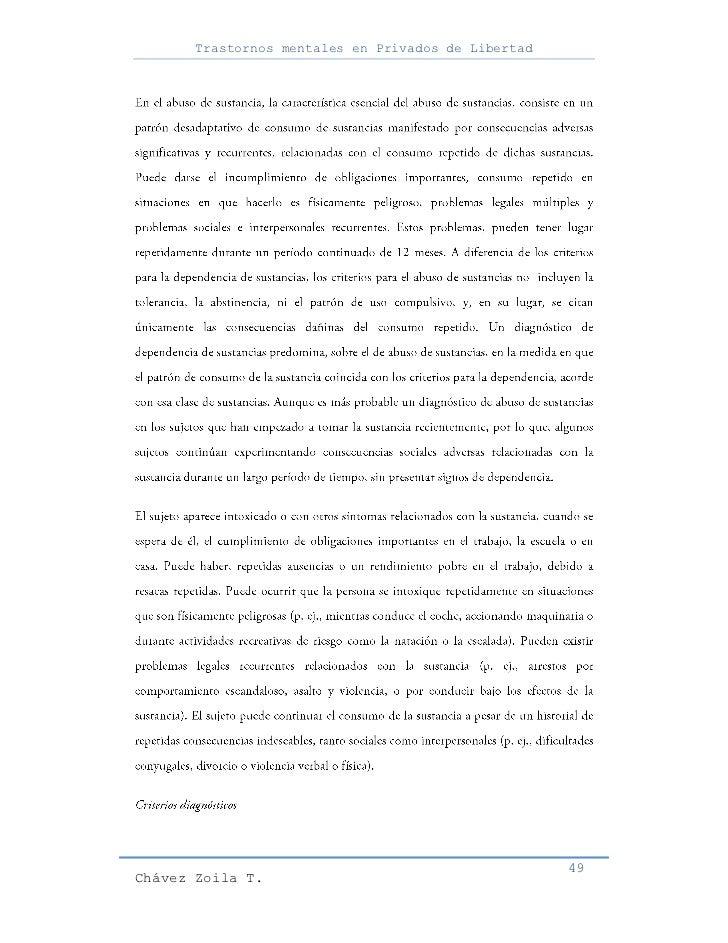 Trastornos mentales en Privados de Libertad                                                     49Chávez Zoila T.