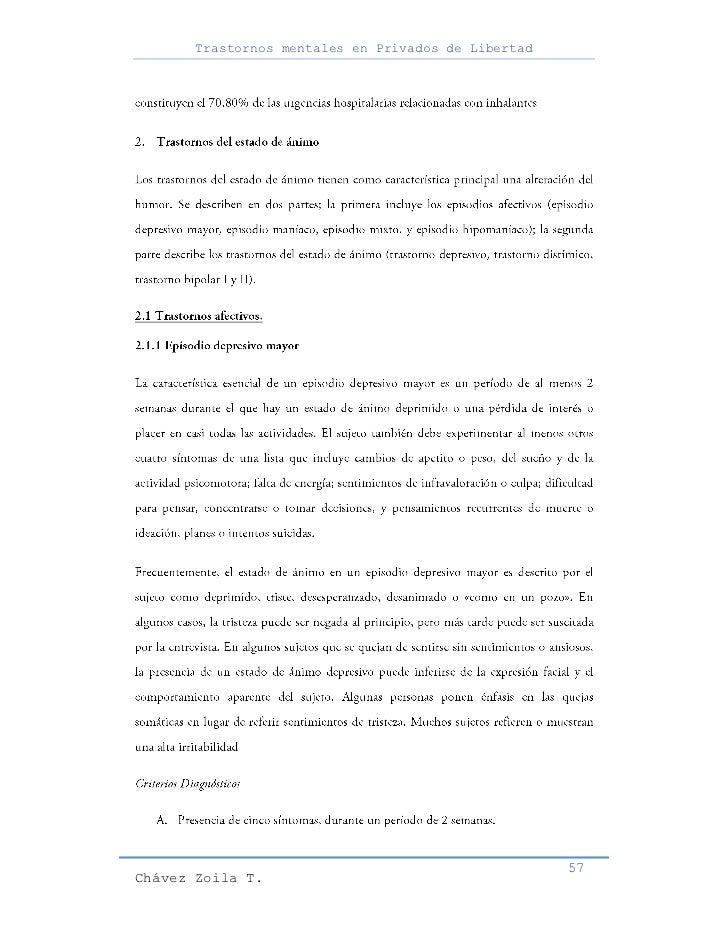 Trastornos mentales en Privados de Libertad                                                     57Chávez Zoila T.