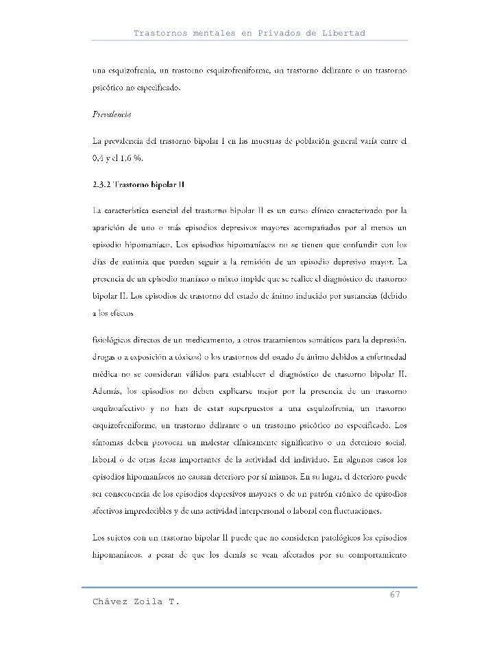 Trastornos mentales en Privados de Libertad                                                     67Chávez Zoila T.