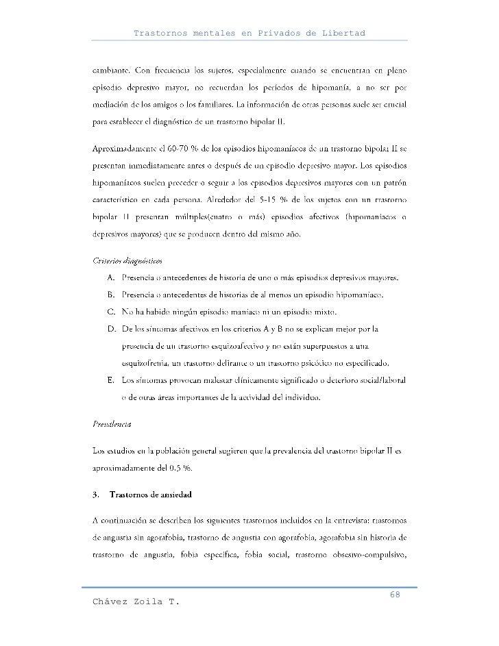 Trastornos mentales en Privados de Libertad                                                     68Chávez Zoila T.