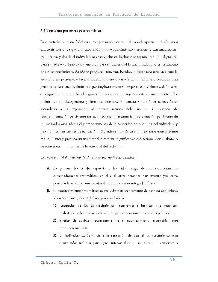 Trastornos mentales en Privados de Libertad                                                     76Chávez Zoila T.