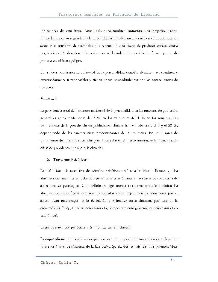 Trastornos mentales en Privados de Libertad                                                     84Chávez Zoila T.