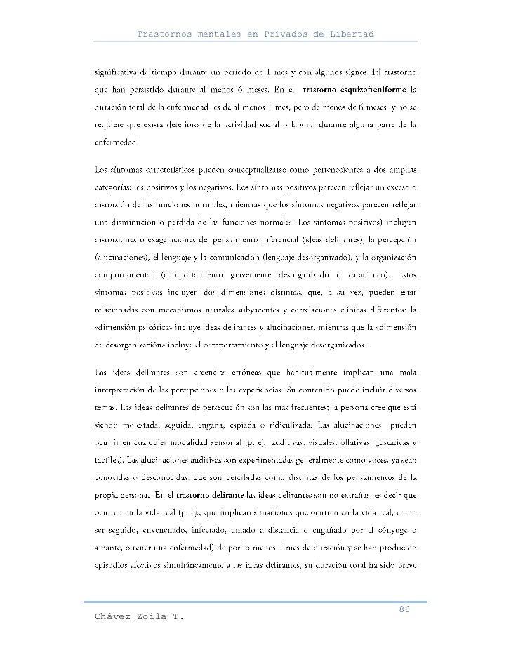 Trastornos mentales en Privados de Libertad                                                     86Chávez Zoila T.