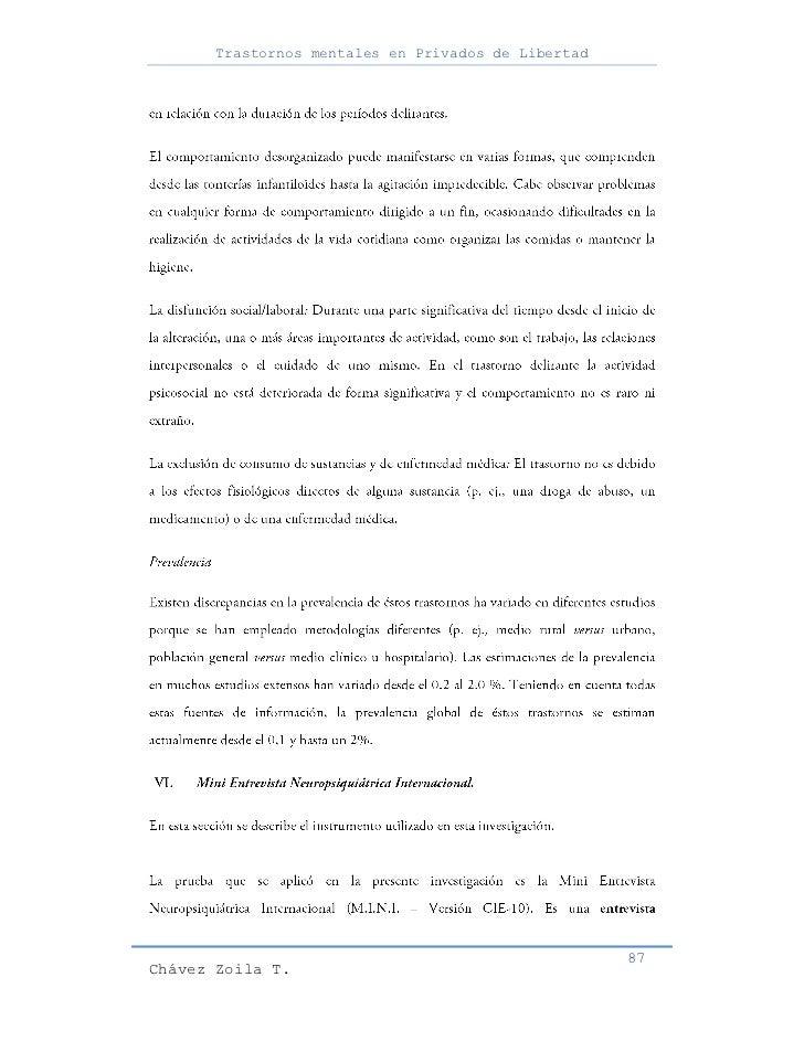 Trastornos mentales en Privados de Libertad                                                     87Chávez Zoila T.