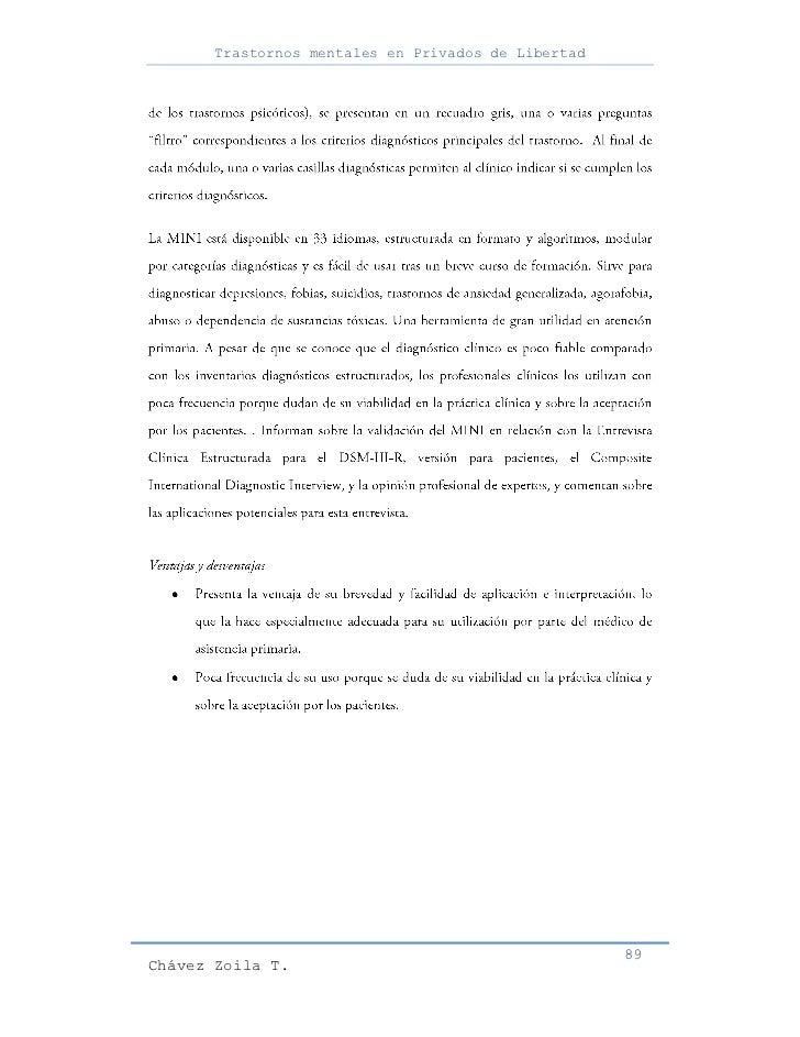 Trastornos mentales en Privados de Libertad                                                     89Chávez Zoila T.