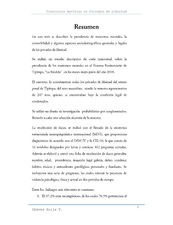 Trastornos mentales en Privados de Libertad                                                     9Chávez Zoila T.
