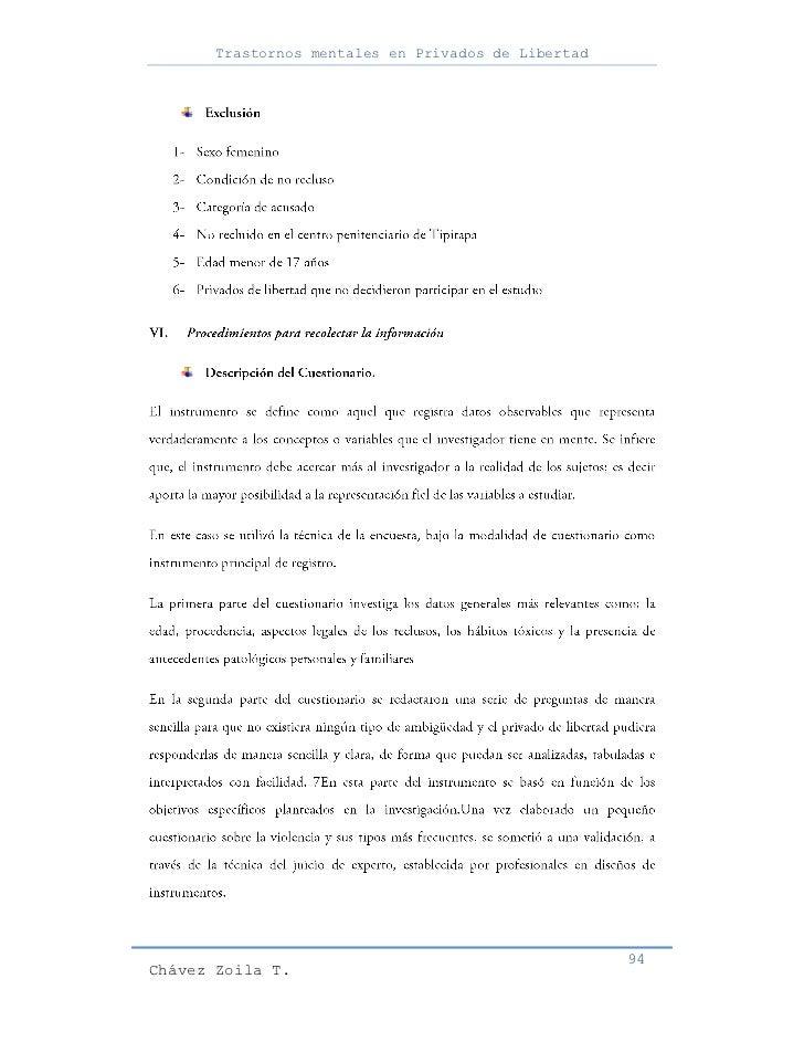 Trastornos mentales en Privados de Libertad                                                     94Chávez Zoila T.
