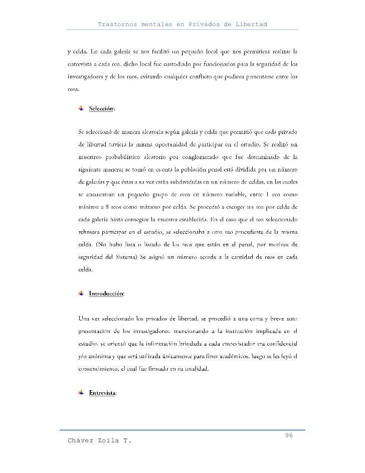 Trastornos mentales en Privados de Libertad                                                     96Chávez Zoila T.