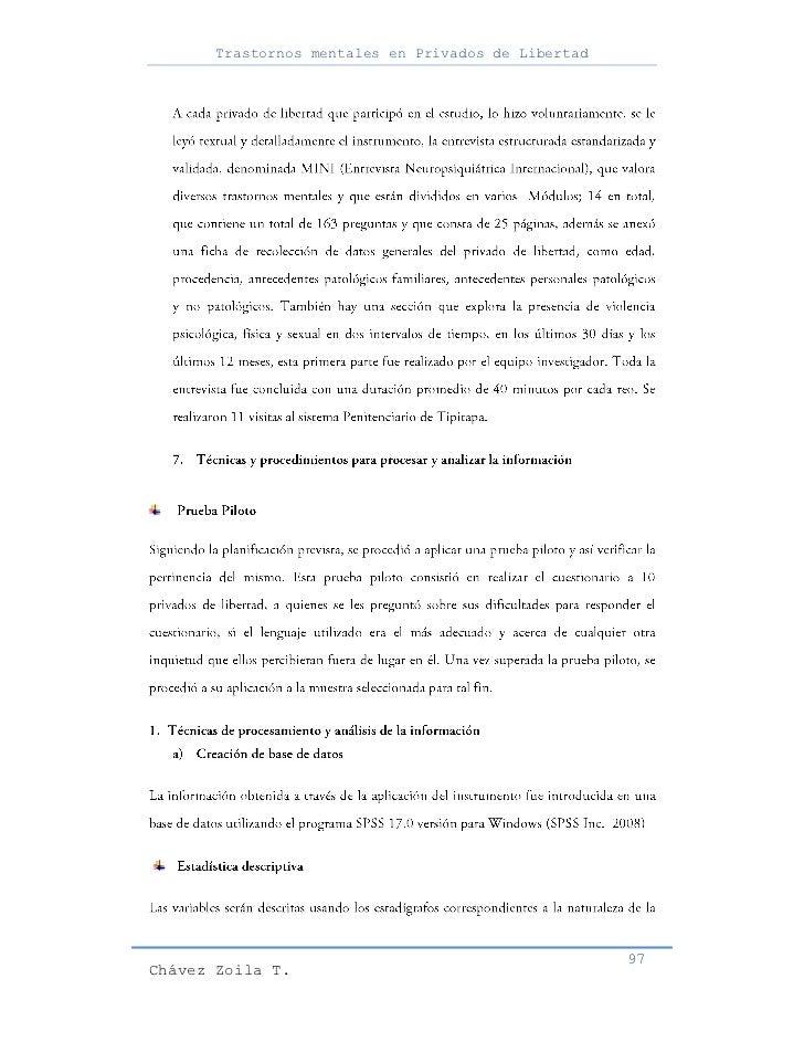 Trastornos mentales en Privados de Libertad                                                     97Chávez Zoila T.