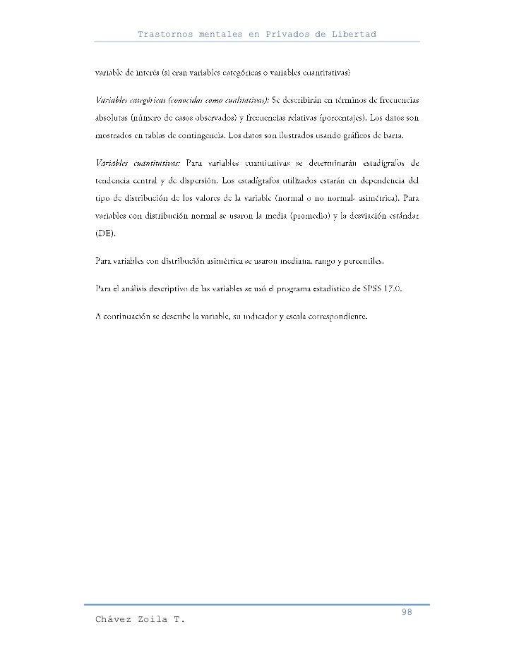 Trastornos mentales en Privados de Libertad                                                     98Chávez Zoila T.