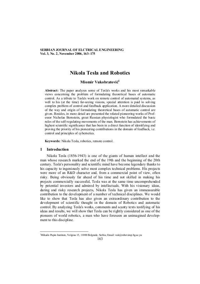 SERBIAN JOURNAL OF ELCTRICAL ENGINEERINGVol. 3, No. 2, November 2006, 163–175                             Nikola Tesla and...