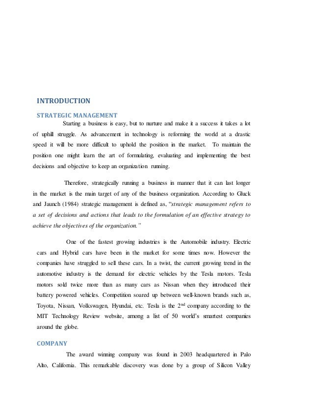 tesla strategic management essay Strategic management assignment question 1 samsung's strategic direction is now focused on tapping into the growth of the enterprise market given the latest.