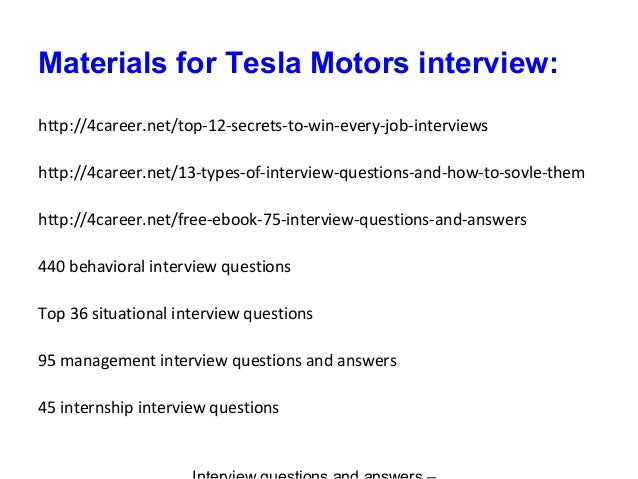 Tesla motors interview questions and answers