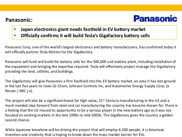 Tesla Motors, Panasonic J-V for Gigafactory - Simon Moores