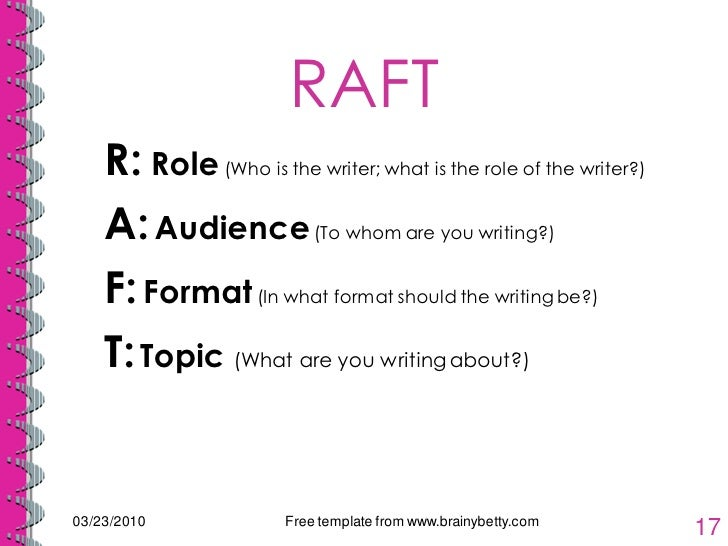 raft writing strategy Raft is a writing strategy that helps students understand their role as a writer, the audience they will address, the varied formats for writing, and the topic they'll be writing about by using this strategy, teachers encourage students to write creatively, to consider a topic from a different.