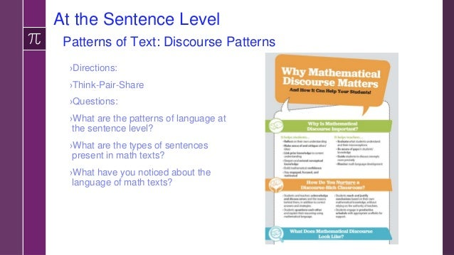 Task: Identifying Patterns at the Sentence Level ›Directions: Using your math book/pages, –identify 3-4 patterns at the se...