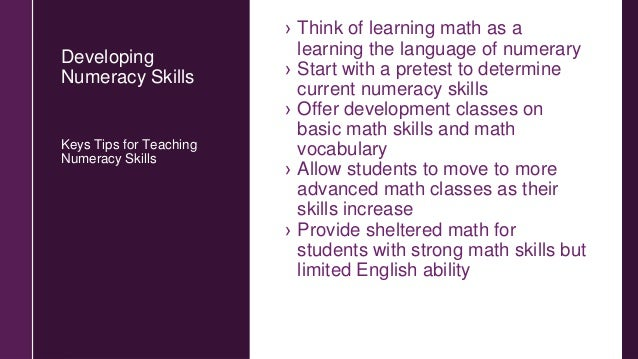Components of a Strong Numeracy Program 1.Math Vocabulary, Number Sense, and Math Symbols 2.Operations and Basic Math Skil...