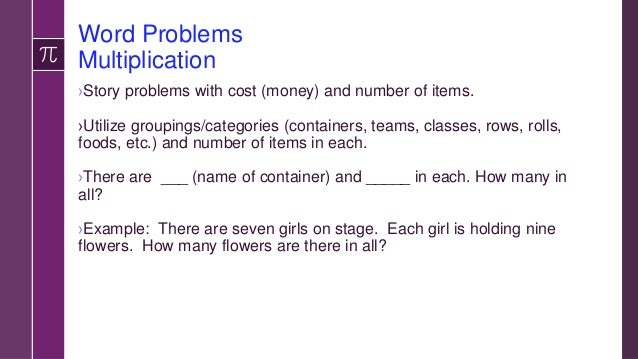 Word Problems Mixed Operations ›Addition and Division: –Greg has 91 erasers and Jane gives him 8 more. Greg gives each of ...