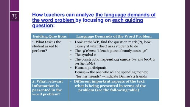 How teachers can analyze the language demands of the word problem by focusing on each guiding question: Guiding Questions ...