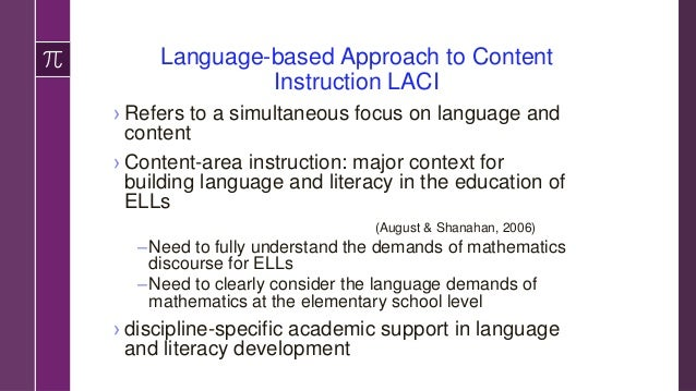 Why Use LACI in mathematics? ›Description of the language demands of WP based on guiding questions and framework can help ...