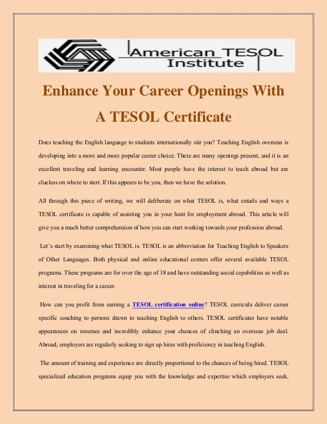 Tesol Certification Online