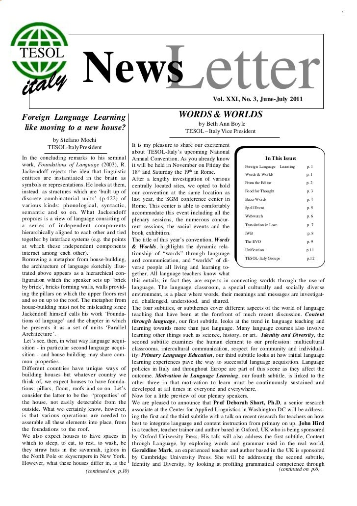 TESOLForeign Language Learning                              Letter                           News                         ...