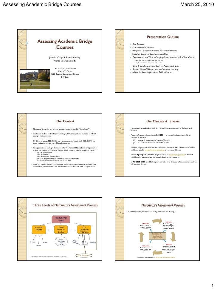 Assessing Academic Bridge Courses                                                                                         ...
