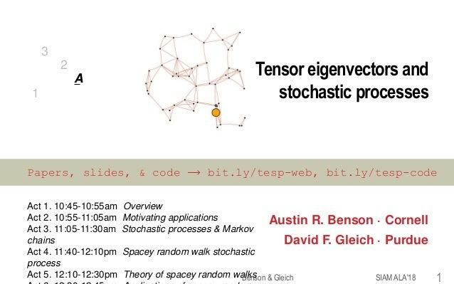 Tensor eigenvectors and stochastic processes Austin R. Benson · Cornell David F. Gleich · Purdue Act 1. 10:45-10:55am Over...