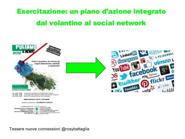 Tessere nuove connessioni @rosybattaglia Esercitazione: un piano d'azione integrato dal volantino al social network