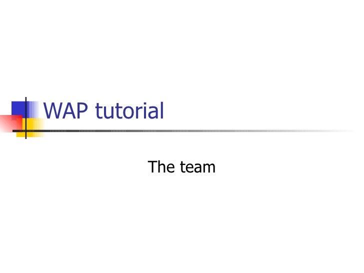 WAP tutorial The team
