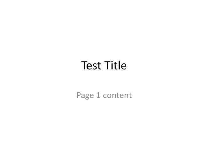 Test TitlePage 1 content
