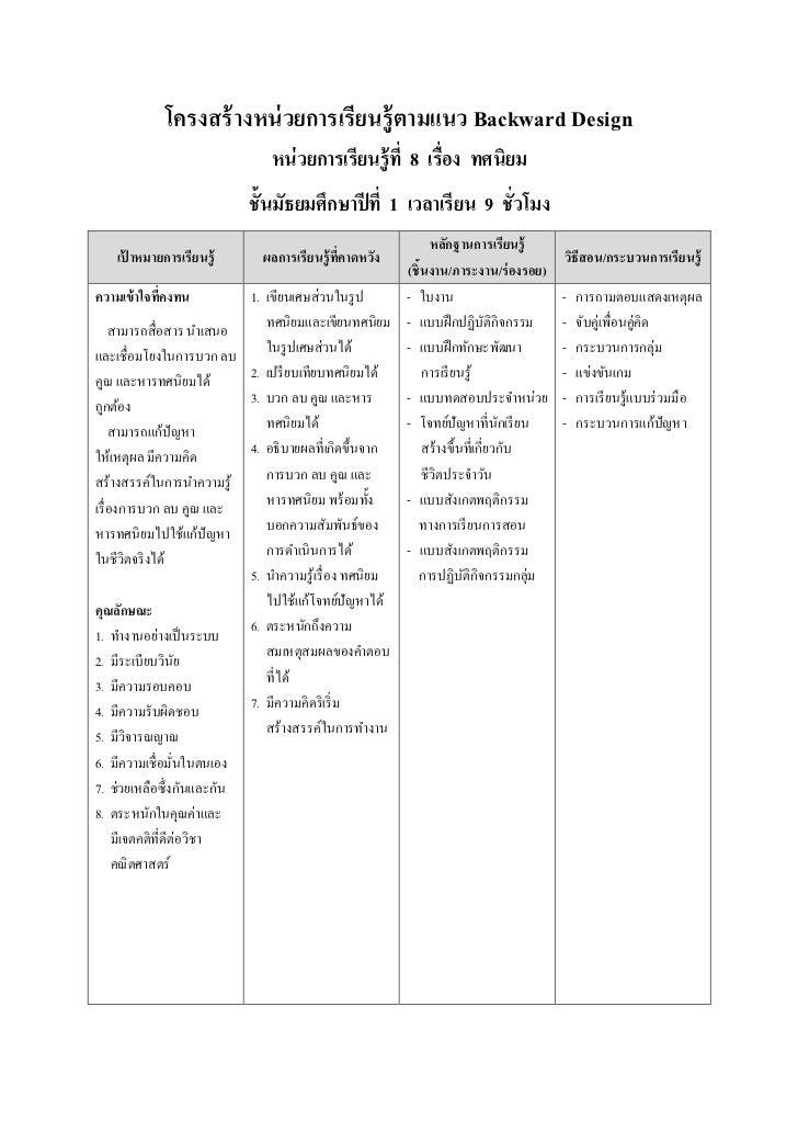 โครงสร้ างหน่ วยการเรียนรู้ ตามแนว Backward Design                               หน่ วยการเรียนรู้ ที 8 เรือง ทศนิยม      ...