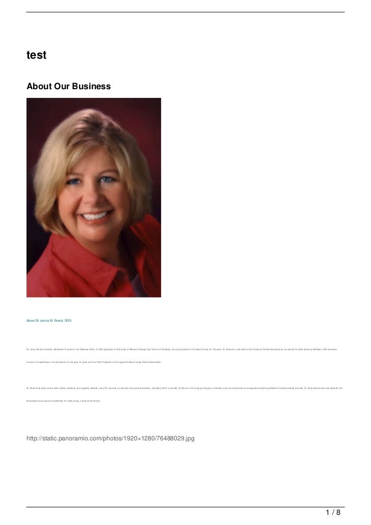 testAbout Our BusinessAbout Dr Janice M. Brand, DDSDr. Janice Brand recently celebrated 15 years in her Oldsmar office. A ...