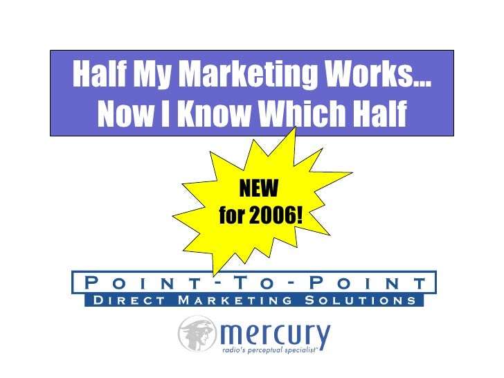 Half My Marketing Works… Now I Know Which Half NEW  for 2006!