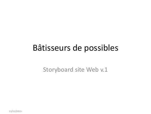 Bâtisseurs de possibles Storyboard site Web v.1  11/11/2013