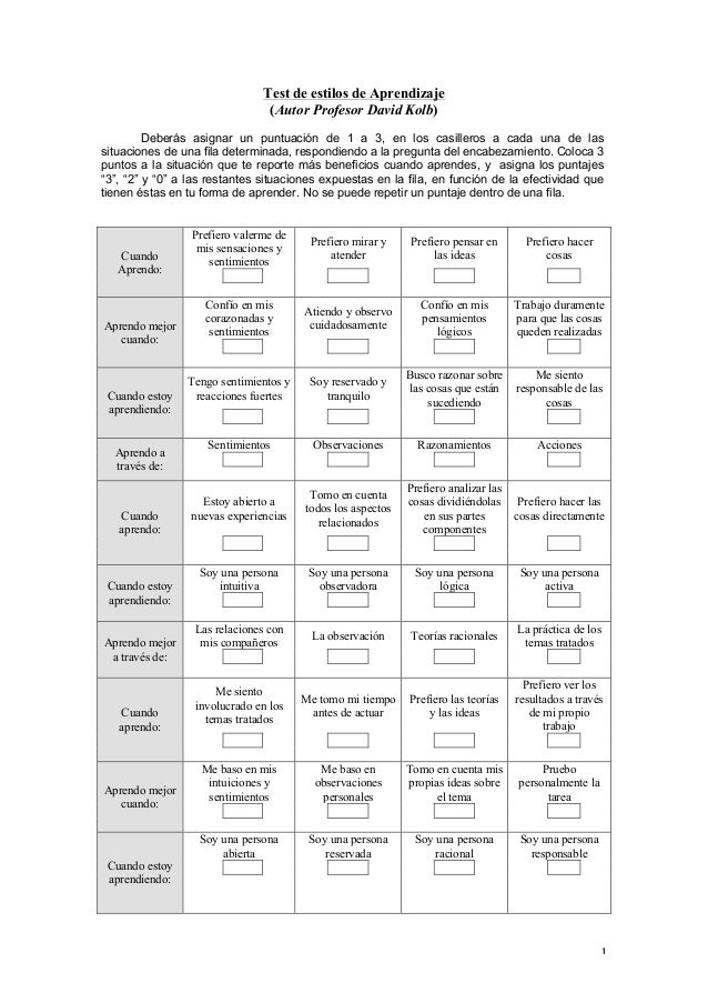 test de estilos de aprendizaje de david kolb para niños pdf