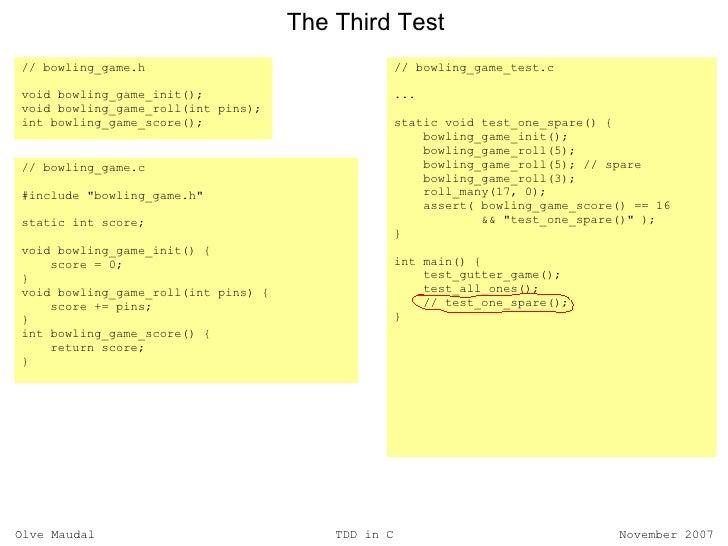 Test driven development in C